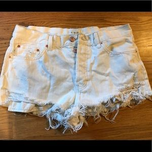 Free people distressed white shorts